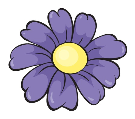 simple flower: illustration of a purple sketch on white background Illustration