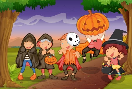 trick or treat: illustration of kids in jungle playing scary game