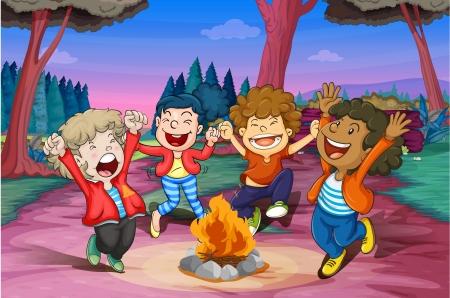 campamento: ilustración del fuego de campamento de niños en la selva Vectores