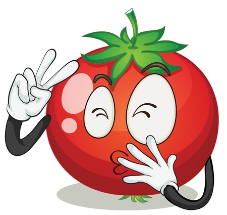 tomato cartoon: illustration of a tomato on a white background