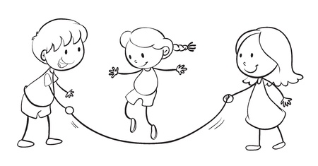skip: detailed illustration of kids playing on a white background Illustration