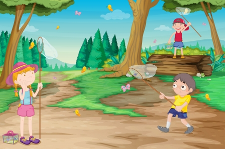 butterfly net: illustration of kids playing outdoor in jungle
