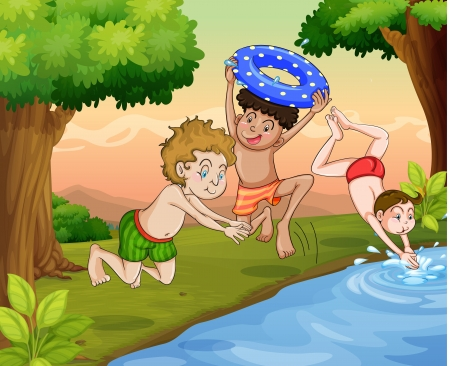 illustration of kids swimming outdoor in jungle Vector