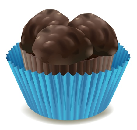 yum: illustration of chocolates in blue cup on a white background Illustration