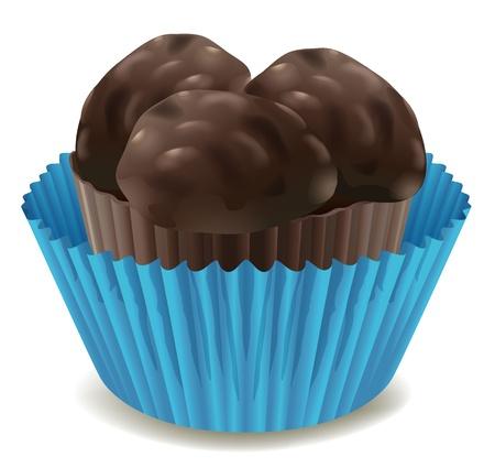 minature: illustrazione di cioccolatini in tazza blu su sfondo bianco