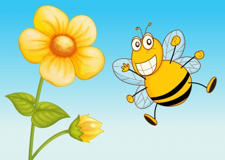 illustration of a bee in a beautiful nature Vector