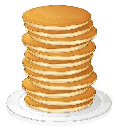 illustration of  pancakes in a dish on white background Vector