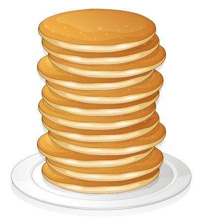 minature: illustrazione di frittelle in un piatto su sfondo bianco Vettoriali