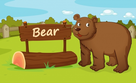 enclosures: illustration of a bear in a beautiful nature