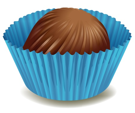 illustration of chocolates in blue cup on a white background Illustration