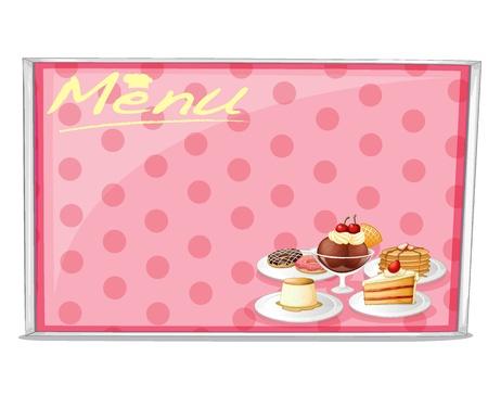 minature: illustration of various cake menu on a white background