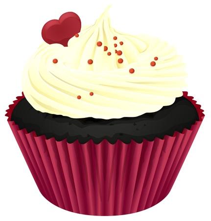 미니: 흰색에 고립 된 컵 케이크의 그림 일러스트