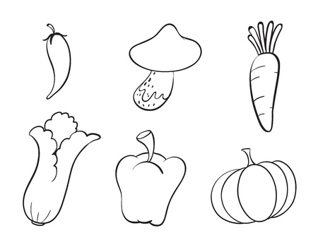 capsicums: illustration of various vegetables on a white background
