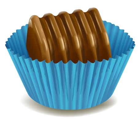 minature: illustration of chocolates in blue cup on a white background Illustration