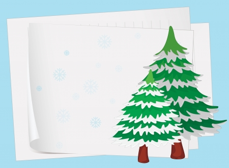 one sheet: illustration of paper sheets and a christmas tree on a color background