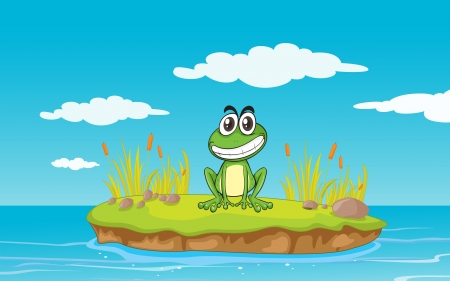 flora fauna: illustration of a frog and a water in a beautiful nature