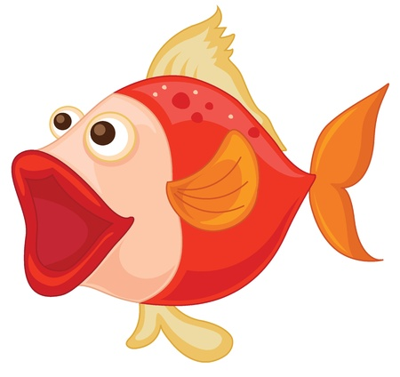 open sea: illustration of a red fish on a white background