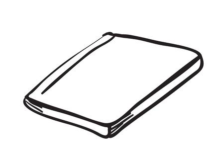 page couverture: illustration d'un carnet de notes sur un fond blanc