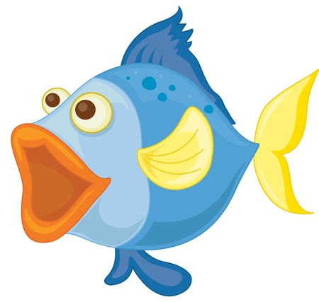 fish isolated: illustration of a blue fish on a white background