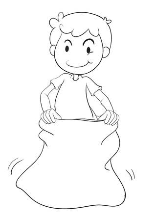 naughty child: illustration of a boy in a sack on white background Illustration