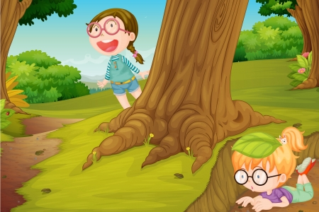 hide and seek: illustration of girls playing in  hide and seek in nature