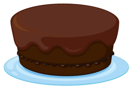 minature: illustration of chocolate cupcake in a dish on white