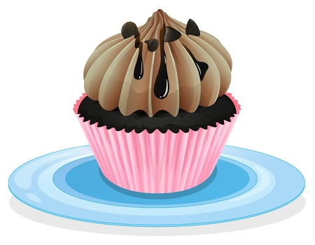 yum: illustration of a cupcake on a white background