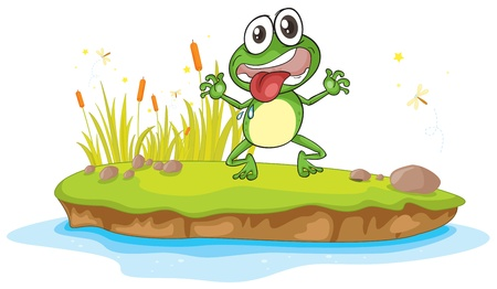 plant stand: illustration of a frog and a water on a white background