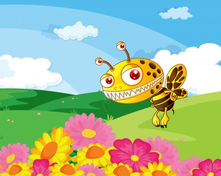 illustration of a bee in a beautiful nature Stock Vector - 16105440