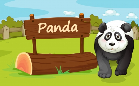 illustration of a panda in a beautiful nature Vector