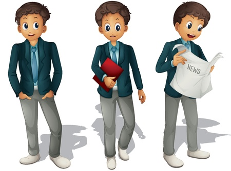 illustration of three boys on a white background Vector