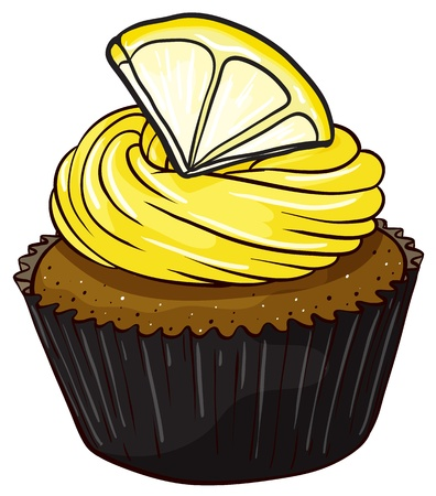isolated on a white background: Illustration of an isolated cupcake