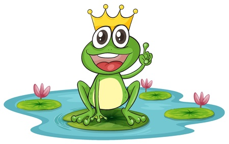 pond water: illustration of a frog and a water on a white background