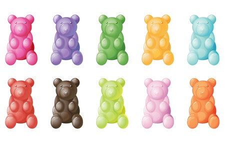 bears: illustration of gummy bears on a white background