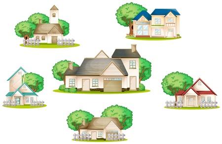 흰색 배경에 다양 한 집의 그림 일러스트