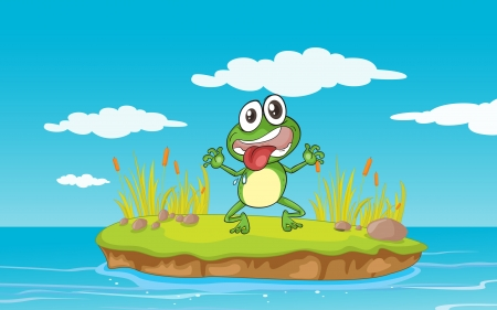 crazy frog: illustration of a frog and a water in a beautiful nature