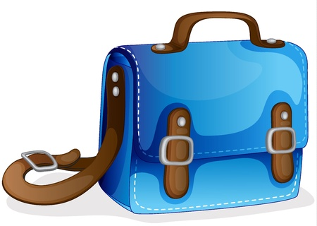 schoolbag: illustration of a blue bag on a white background