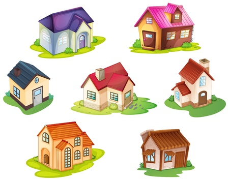wooden houses: illustration of various houses on a white background