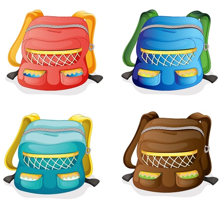 illustration of school bags on a white background  Vector