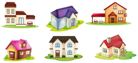 family in front of house: illustration of various houses on a white background