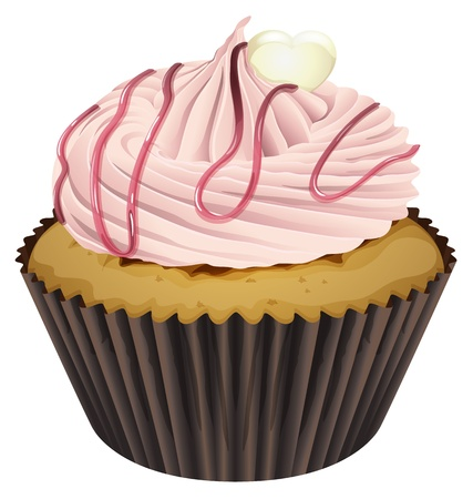 cupcakes isolated: Illustration of an isolated cupcake on a white