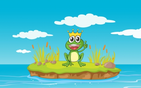 illustration of a frog and a water in a beautiful nature Vector