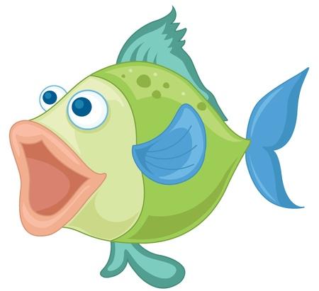 pez pecera: ilustraci�n de un pescado azul-verde sobre un fondo blanco Vectores