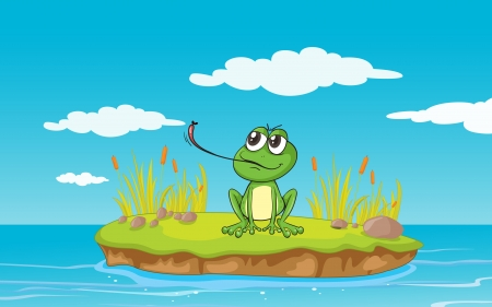 illustration of a frog and a water on a white background