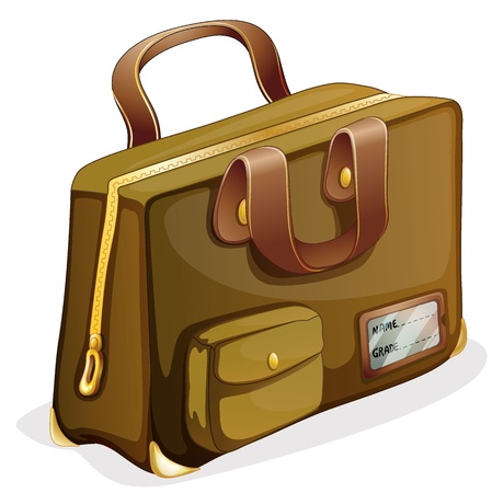abroad: illustration of a brown bag on a white background Illustration