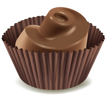 sweet treats: illustration of chocolates in brown cup on a white background