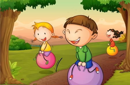 boy ball: illustration of kids playing in a beautiful nature Illustration