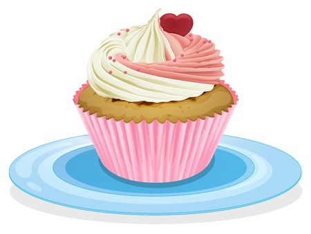 Illustration of an isolated cupcake on a white Vector