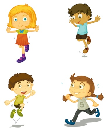 woman jump: illustration of a four kids on a white background Illustration