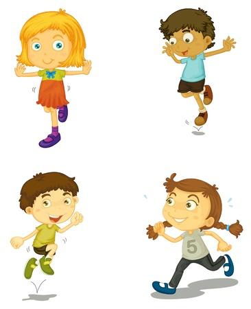 niño corriendo: ilustración de un período de cuatro niños en un fondo blanco Vectores